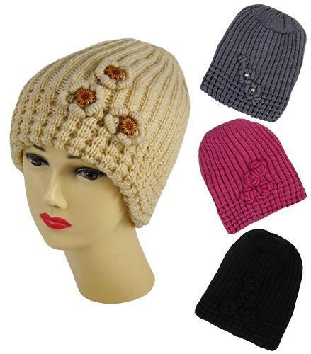 Ladies Chunky Cable Knitted Hats with Crochet Details Ladies Hats in four colour
