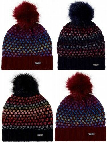 Ladies Multi Colour Ski Hat Large Faux Fur Pom Pom Pro-Hike ONE SIZE Women Girls