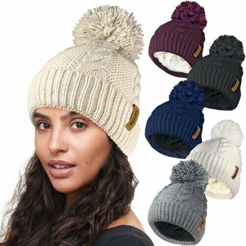 Ladies Winter Hats Women Chunky Cable Knitted Ski Warm fleece lined Girls Hat 04