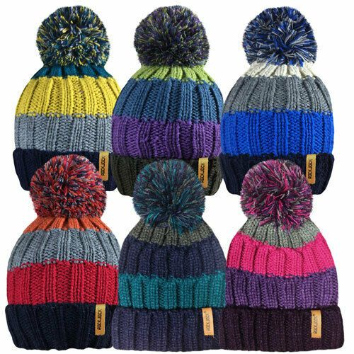 Ladies Women Adults Heavy Chunky Knitted Ski Hats Large Bobble Winter Warm New 3