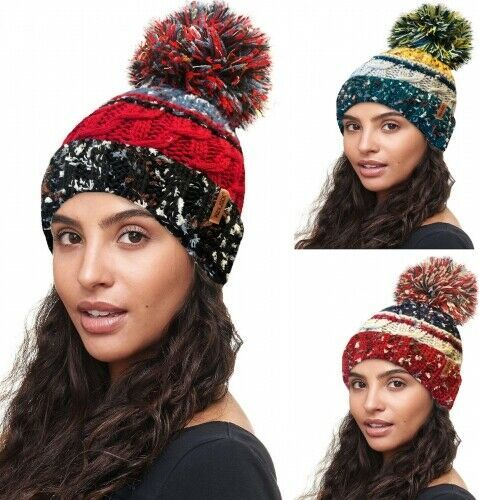 Ladies Women Chunky Fully Insulated Knitted Winter Ski Hat Extra Large Bobble 10