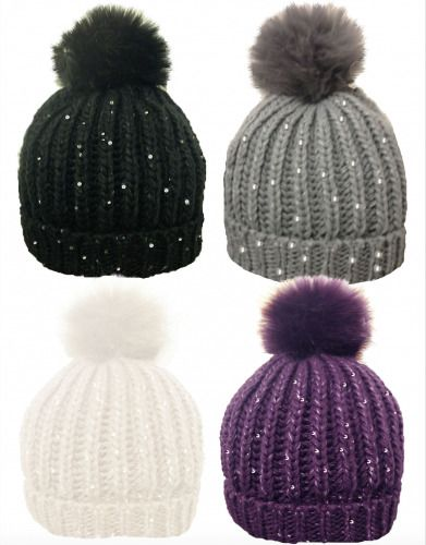 New LADIES WOMEN WINTER Ribbed BEANIE SKI HAT Sequin FAUX FUR BOBBLE POM POM 633