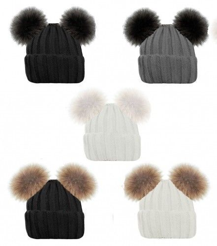 New Winter HATS ADULT LADIES RIBBED BEANIE HAT GIRLS TWIN  FAUX FUR POM POM 658
